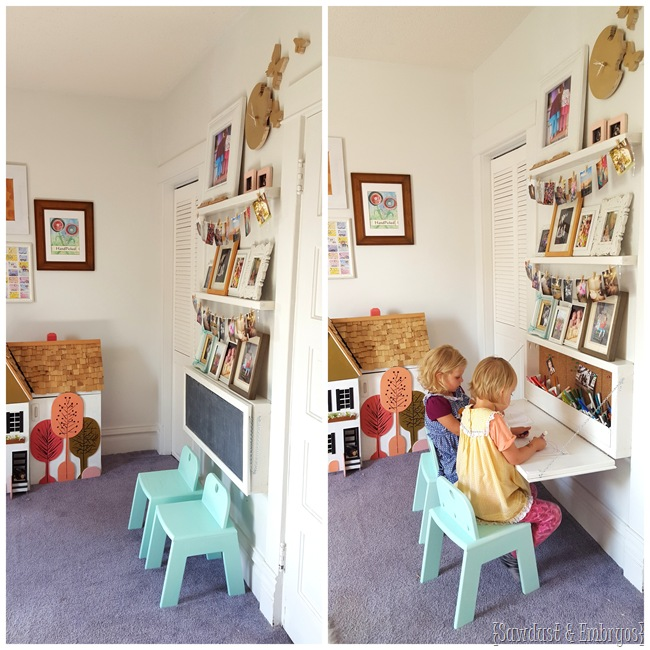 Build your own Murphy Table for kids... it's like a wall-mounted secretary desk with all that storage inside! {Sawdust and Embryos}