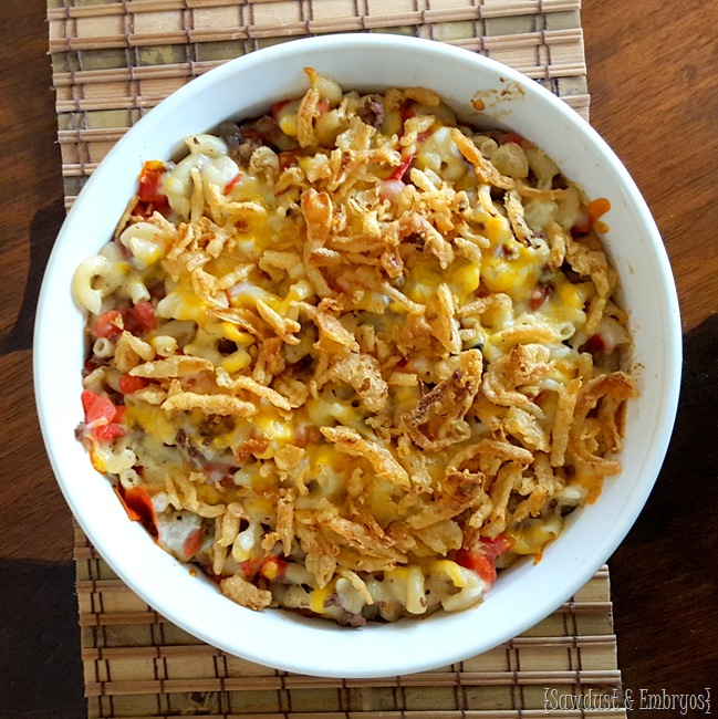 Cheesy Cruncheroni Casserole {Sawdust and Embryos}