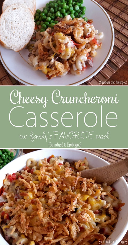 Cheesy Cruncheroni Casserole... our family's ABSOLUTE FAVORITE meal! {Sawdust and Embryos}