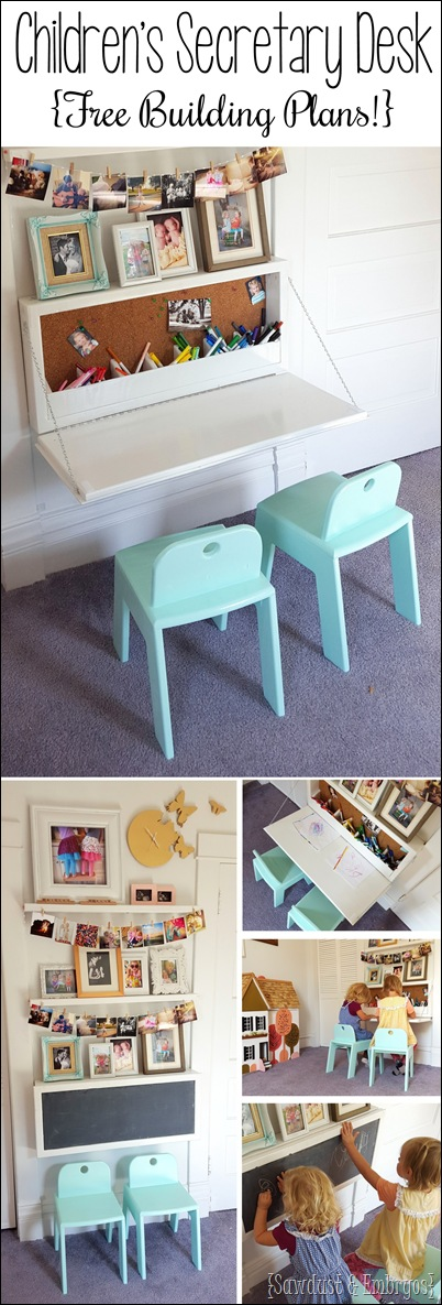 DIY fold-down children's desk with storage inside, and chalkboard on outside... FREE PLANS! {Sawdust & Embryos}