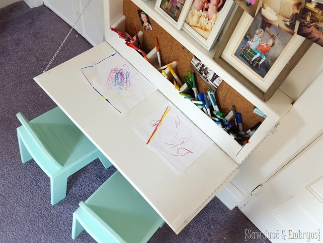 Fold-down Children's table with storage inside, and a chalkboard on the outside!