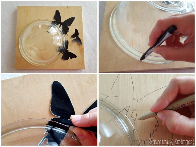 How to make your own butterfly 'cutout' clock... where it looks like the butterflies are flying out of the clock! {Sawdust and Embryos}