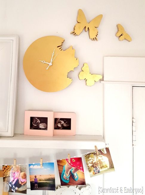 How to make your own butterfly 'cutout' clock... where it looks like the butterflies are flying out of the clock! (Sawdust & Embryos)