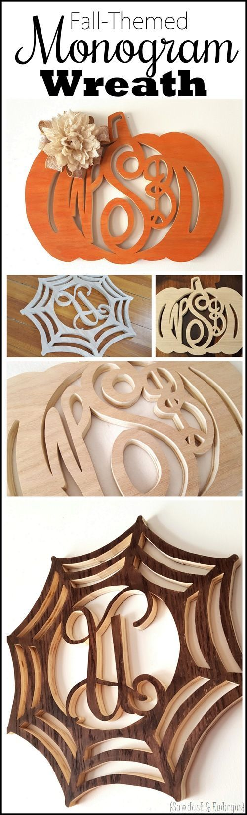 Pumpkin or spiderweb monogram 'wreath' tutorial... fall themed! {Reality Daydream #scrollsaw