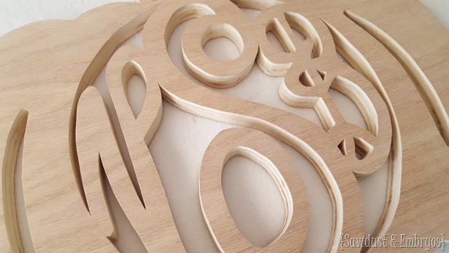 Use a scroll saw or jigsaw to create your own pumpkin (or spider web!) shaped monogram 'wreath' {Sawdust & Embryos}
