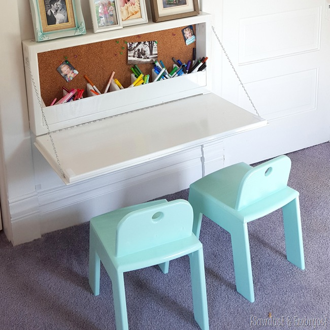 Children's wall-mounted Secretary Desk and Land of Nod Knock-off Kid Chairs! {Sawdust and Embryos}