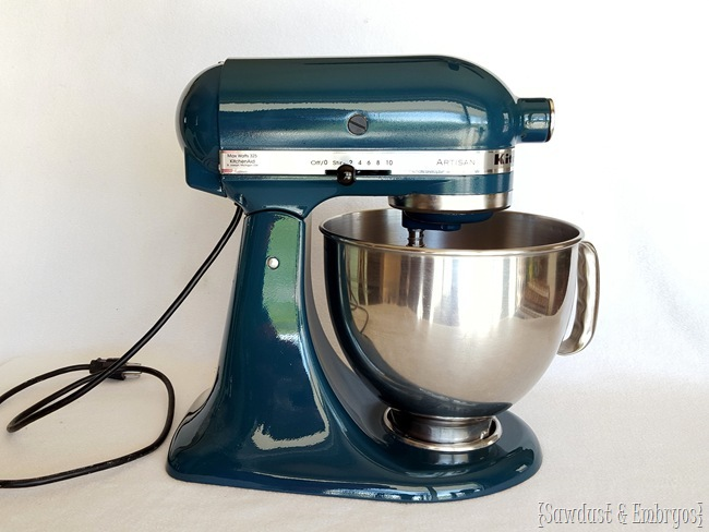 Detailed tutorial on how to PAINT your Kitchen Aid Mixer... and have it look professional! {Sawdust and Embryos}