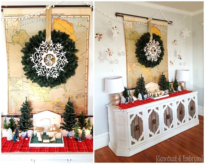 Christmas Winter Wonderland Vignette... with tons of pine trees and homemade snowflakes for a personal touch! {Sawdust and Embryos} (2)