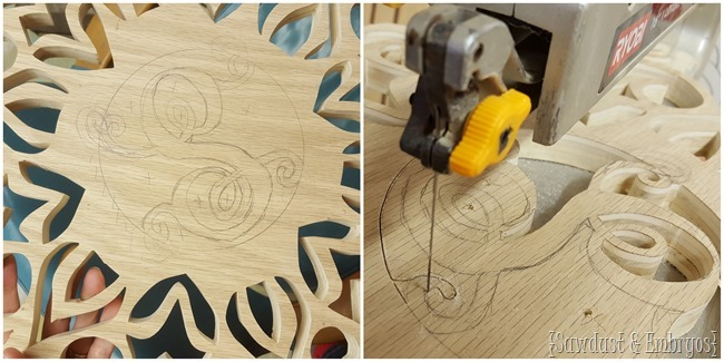 Cut an intricate snowflake out of wood... with a monogram in the center! {Sawdust and Embryos}