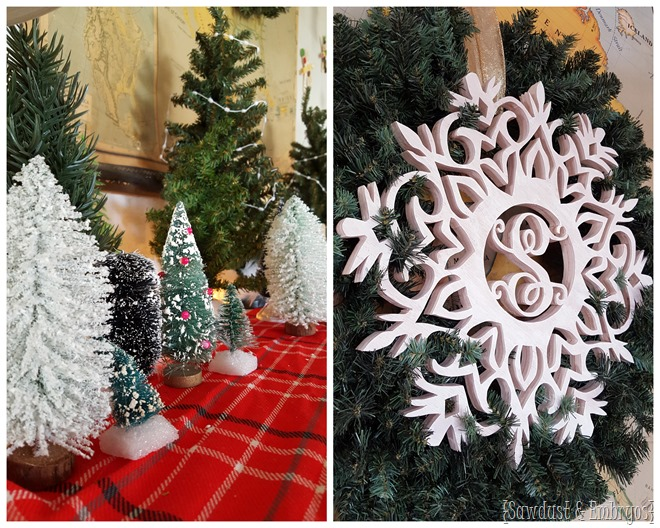 Winter Wonderland Vignette with DIY Monogram Snowflake Wreath (made from wood!) - Sawdust and Embryos