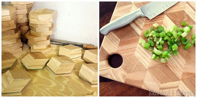 DIY Cutting Board with geometric pattern {Sawdust and Embryos}