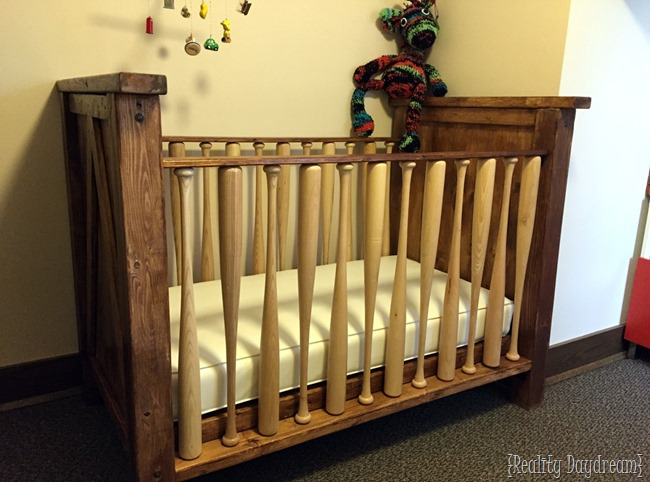 Details on building a BASEBALL BAT CRIB for your little baseball fan! {Sawdust and Embryos}