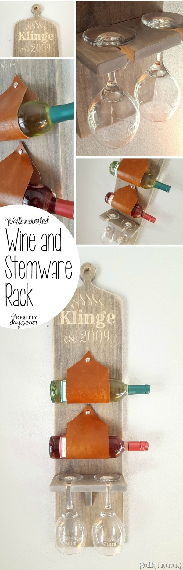 Wall-mounted wine and stemware rack... using leather as the slings! {Reality Daydream}