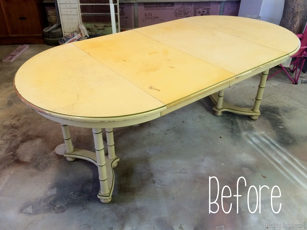 Before shot of dining table  Reality Daydream. Wood Stain Art   Dahlia Dining Table  Reality Daydream