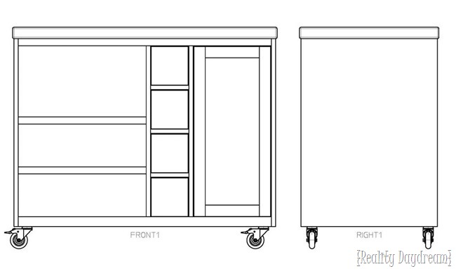 Building plans for rolling kitchen island with a place for garbage can and microwave!