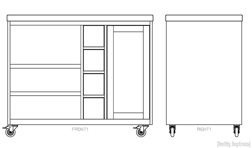 Building Plans For Rolling Kitchen Island With A Place For Garbage Can And  Microwave! {