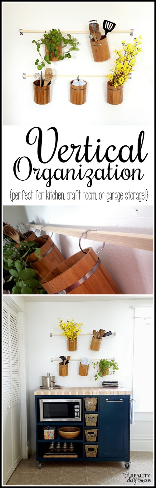 Create simple vertical storage on any blank wall using wooden canisters and shower curtain rings! {Reality Daydream}