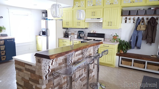 Custom DIY Rolling Kitchen Island ...with butcher block top, and a place for the microwave and trash!! {Reality Daydream}