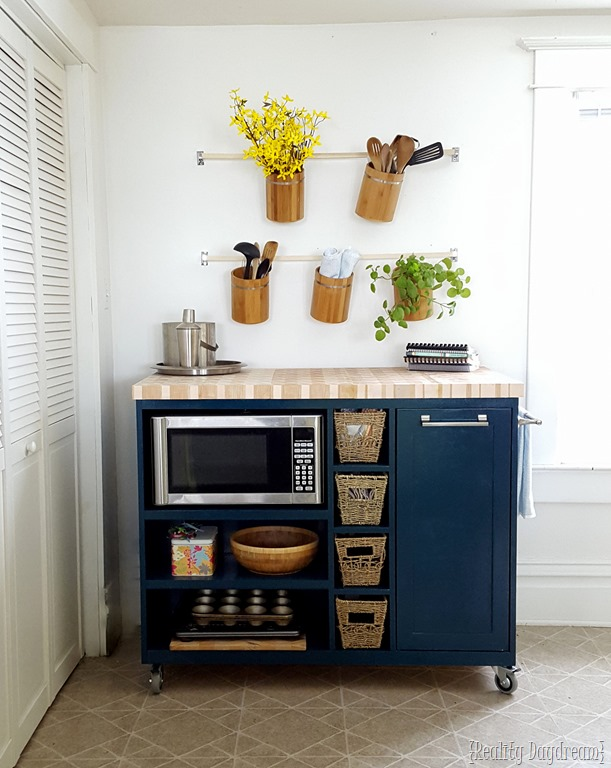 awesome Kitchen Island Cart Diy #8: Custom DIY Rolling Kitchen Island ...with butcher block top, and a place