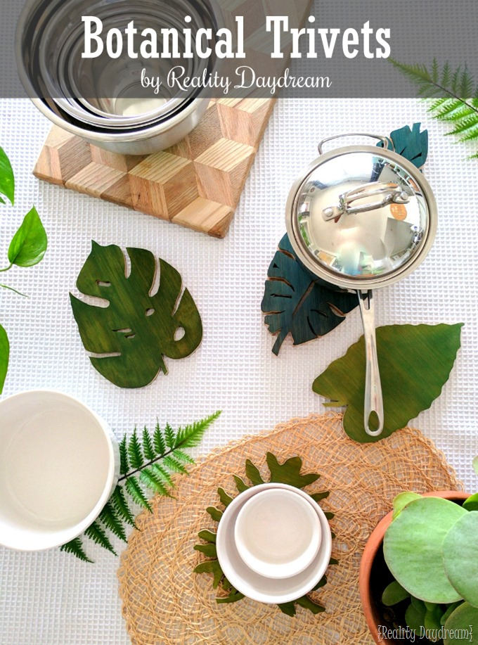 These DIY Botanical Leaf Trivets were made from a cutting board and a scroll saw.