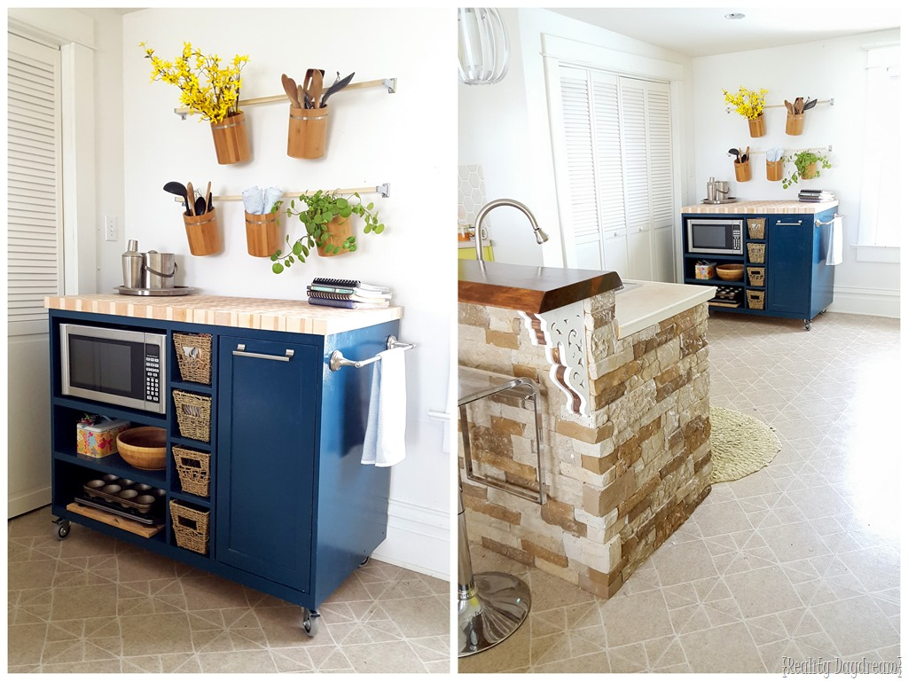 good Kitchen Island On Wheels Plans #3: DIY Custom Rolling Kitchen Island Build {Reality Daydream}