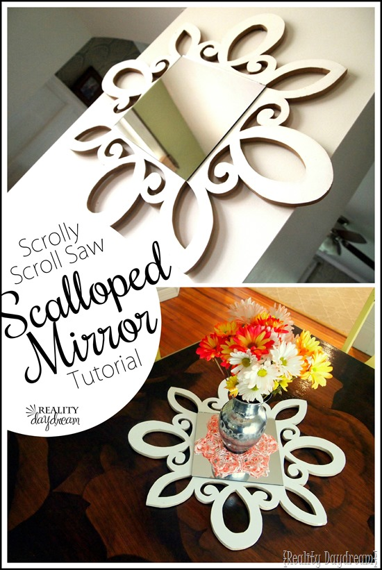 DIY Scalloped Scrolly Mirror... can be used as a centerpiece or a starburst mirror! {Reality Daydream}