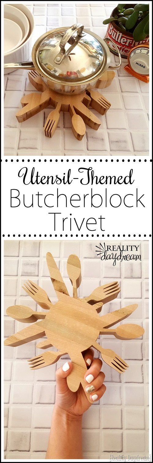 This utensil-themed butcher block trivet makes for a perfect gift!