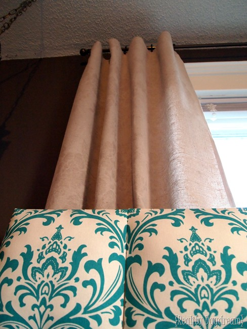How to affix your headboard in front of a window, and still have curtains going down behind it!