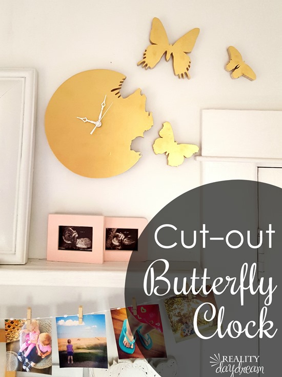 How to make your own butterfly 'cutout' clock... where it looks like the butterflies are flying out of the clock! {Reality Daydream}