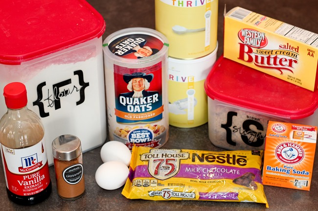 Ingredients for Oatmeal Chocolate Chip Cookie Bars