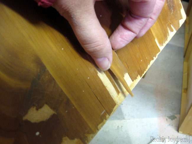 Wood veneer might be too damaged to paint. If that's the case, you have to replace the veneer with another layer of thin hardwood.