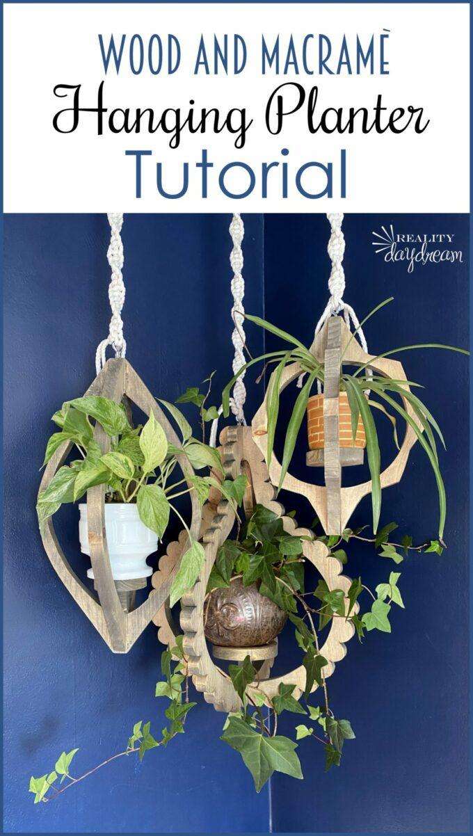 Scroll Saw Ideas - Wood and Macrame Hanging Planter