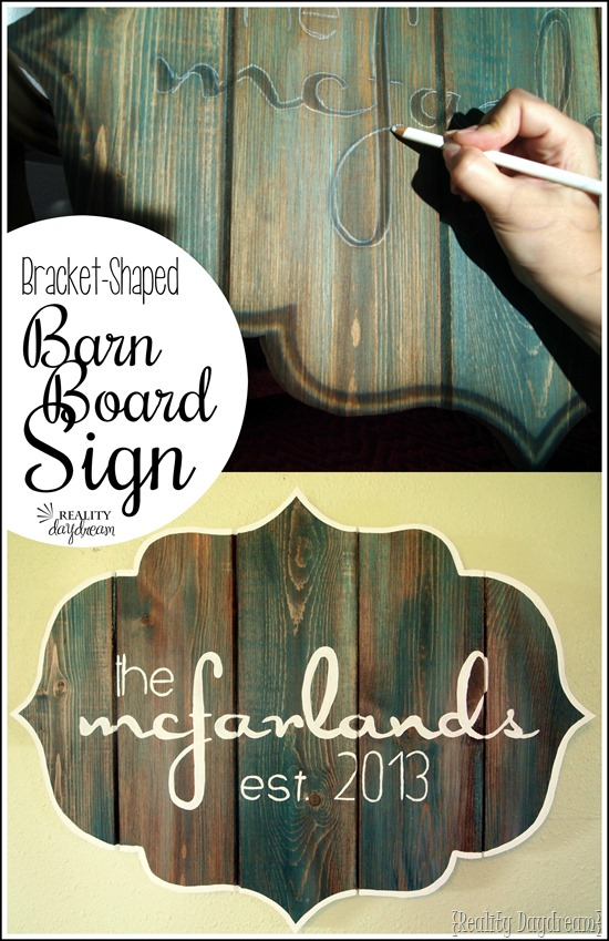 Make this 'Barn Board' sign in a bracket-shape using brand new boards and a scroll saw! {Reality Daydream}