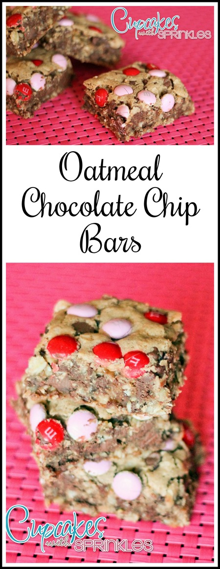 Oatmeal Chocolate Chip Cookie Bars {Cupcakes with Sprinkles}