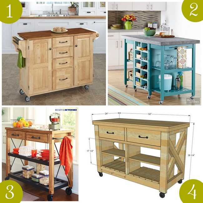 Rolling Kitchen Island inspiration came from lots of sources.