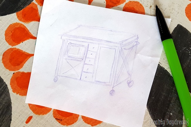 Sketch of how I want my custom kitchen island! (Tutorial included!)