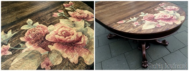 Stained Rose Artwork on Clawfoot Table {Reality Daydream}