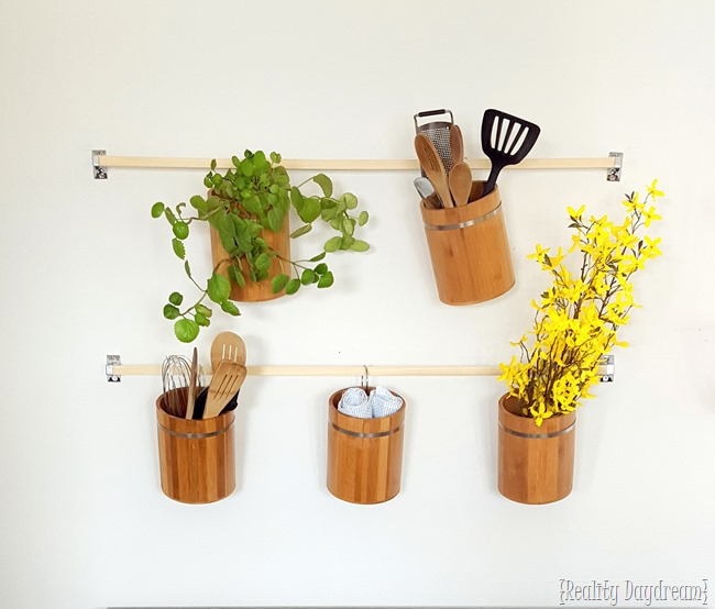Vertical Kitchen Storage using Bamboo Canisters and Toilet Paper Holders! {Reality Daydream}