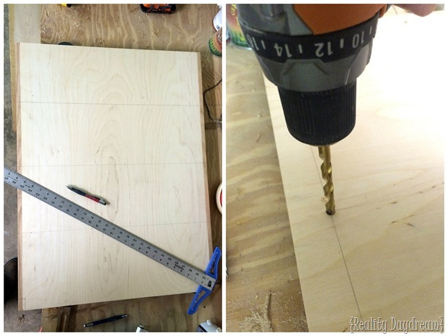 Measure and drill holes to make construction easy on this rolling kitchen island.
