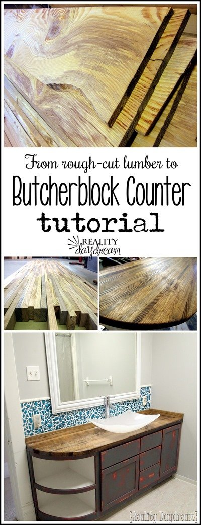 Build your own Butcher Block Counter for your bathroom vanity (or even your kitchen!) Reality Daydream