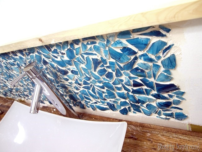 Installing a Mason Jar Mosaic Backsplash: Adhering broken pieces