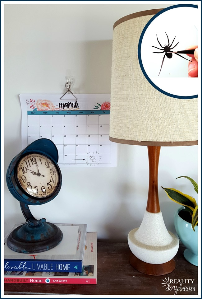 Put a vinyl spider on the inside of a lampshade for the ultimate April Fools Joke! (Reality Daydream)