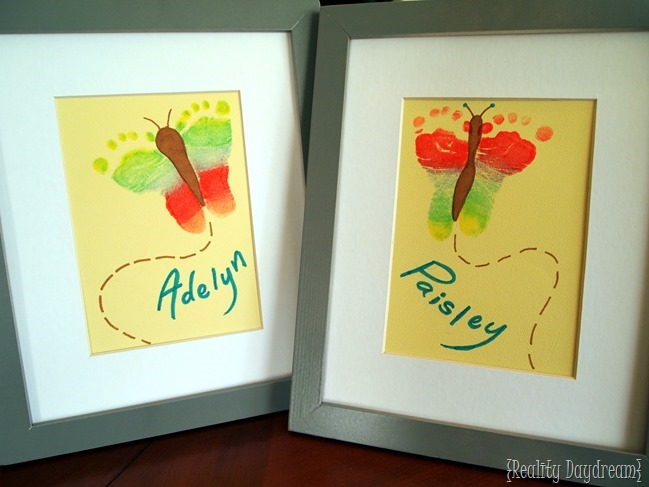 Rainbow Footprint Butterflies... such a cute craft to do with your toddler or baby!  {Reality Daydream}