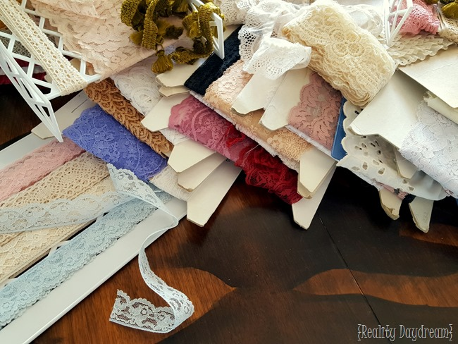 Soooooo much lace! Tutorial for a GORGEOUS way to organize your lace collection {Reality Daydream}