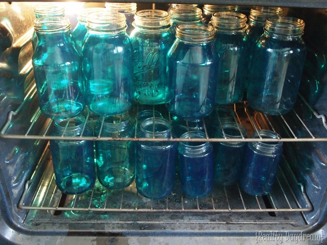 Tint your own Mason Jars to make a MASON JAR MOSAIC BACKSPLASH!