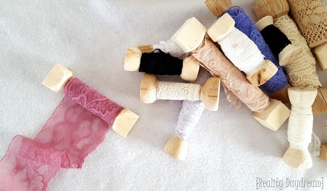 Use a lathe to make a bunch of spools to store your lace and ribbon! {Reality Daydream}