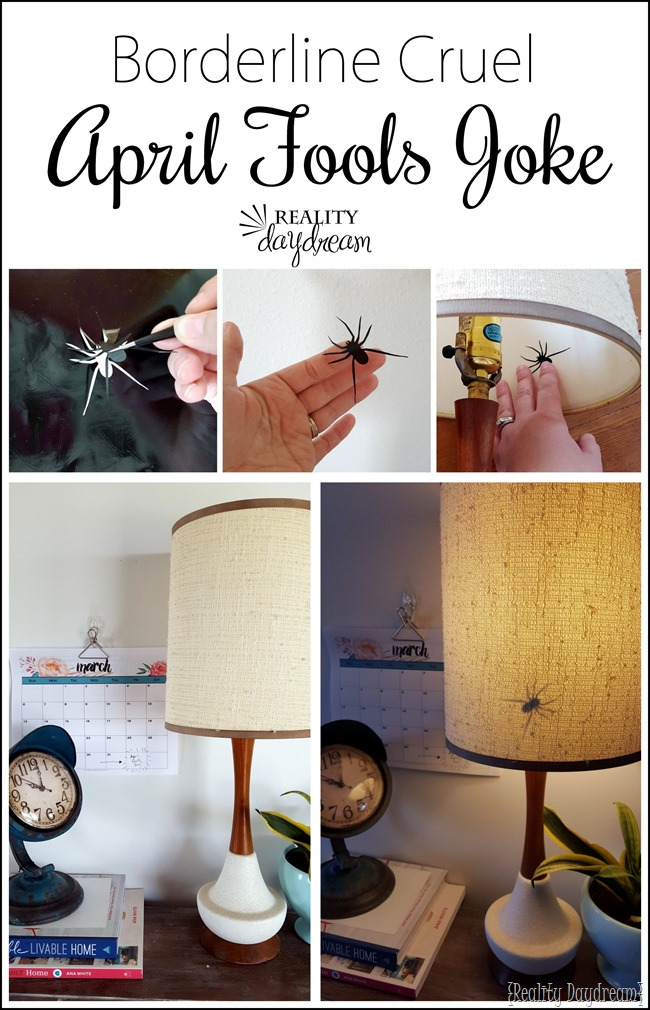 Use your Silhouette to make a spider using sticky vinyl... and apply to the inside of a lampshade! {Reality Daydream}