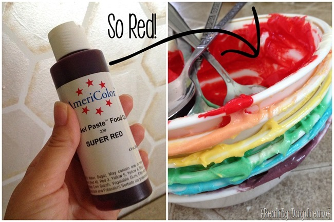AmeriColor Red Food Coloring for Rainbow Cake!! {Reality Daydream}