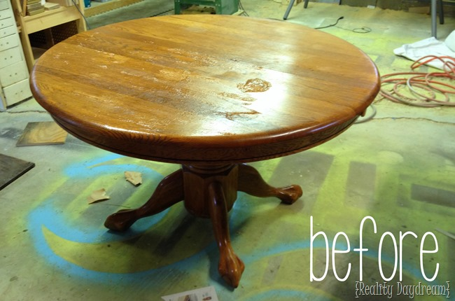 'Before' shot of the dining table before it got the stained treatment! {Reality Daydream}