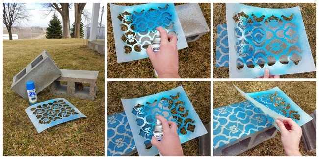 Cinder Block Corner Planter with each block stenciled a different shade!